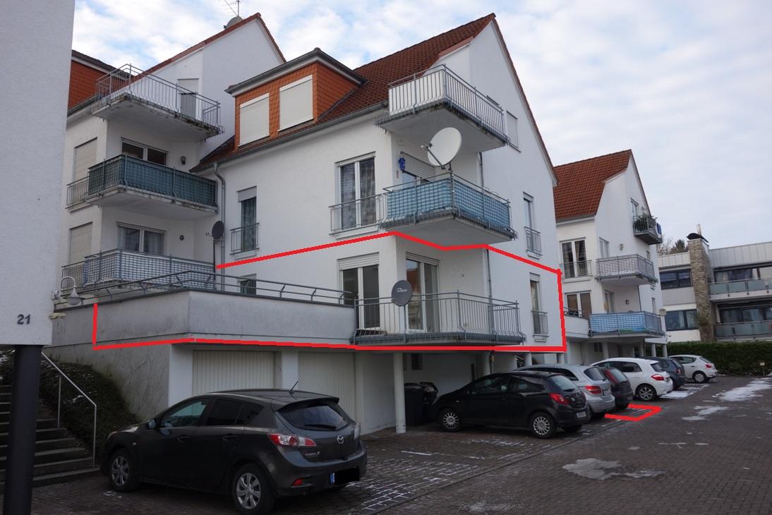 Helle 3-ZKB, incl. Terrasse sowie Balkon u. 1 Kfz- Stellplatz 